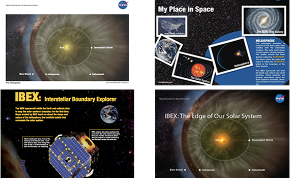 Some examples of the IBEX informal education products available for download, including the heliosphere lithograph, the My Place in Space lithograph, the IBEX mission poster, and the IBEX heliosphere poster.